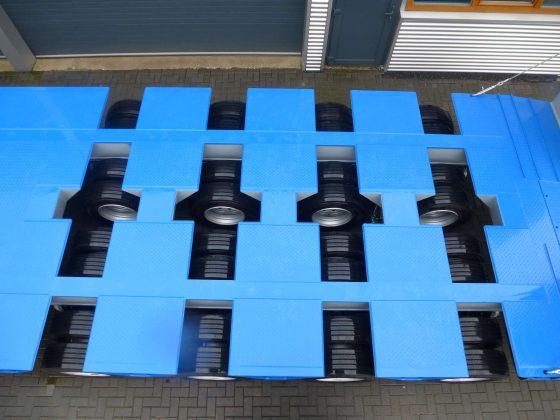 Semi-remorque 4 essieux adaptée à la piste