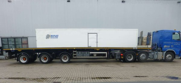 AXLE FLATBED TRAILER // 3 AXLES HYDRAULIC STEERING // EXTENDABLE TILL 36 M // PAYLOAD 34 T