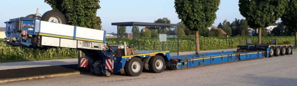 2 bed 4 Pendel axle Lowbed with Vesselbed incl. 2 axle Interdolly and 3 sets of extensions beam, payload 62 ton