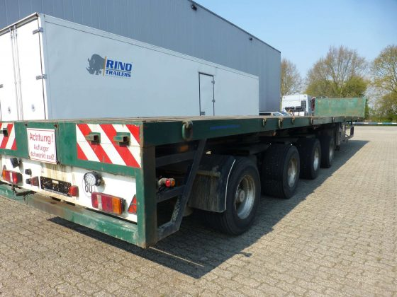 4 AXLE FLATBED // 4 AXLES HYDRAULICE STEERING // // EXTENDABLE TIL 36 MTR // PAYLOAD 38 TON
