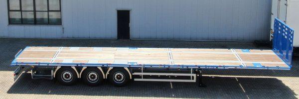 3-assige vlakke trailer// met 100 mm zwanenhals //  2 rijstanden 1130 mm en 1250 mm // ideal voor onbegeleid over // 38 ton laadvermogen