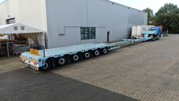 6 Pendel axle semi lowbed, double extendable till 25 meter, payload 78,5 ton