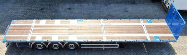 3-assige vlakke trailer met 2 rijstanden