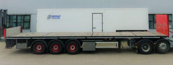 3 Assige vlakke trailer | met twistlocks en aluminium zijborden | laadvermogen 35 ton